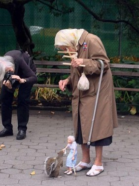 Uplifting Photo of the Day Includes One Elderly Lady, One Puppet and a Squirrel