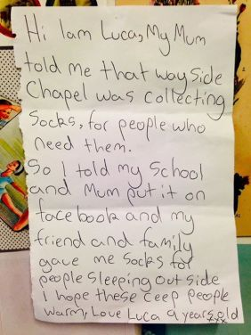 The Wayside Chapel Thank you 9-year-old Luca for knowing there are people in need.