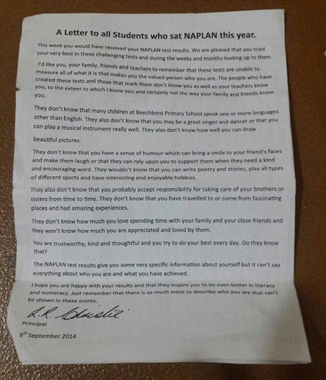 Australian Principal's Inspiring Letter to His Students