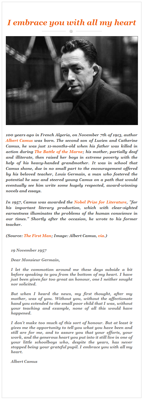 The Note Albert Camus Sent to his Teacher