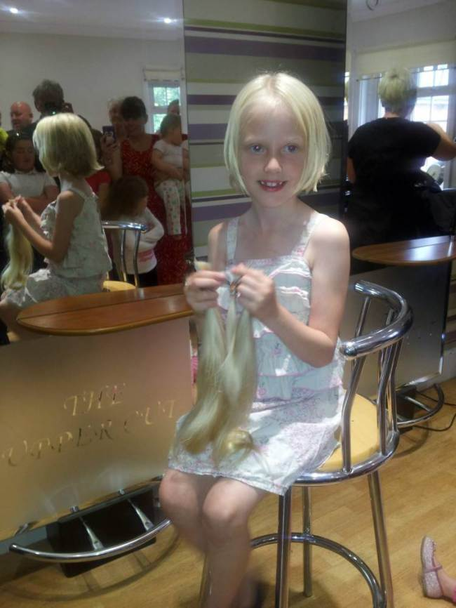 Charlie Tillotson gave up her locks for the cause (Picture: SWNS)