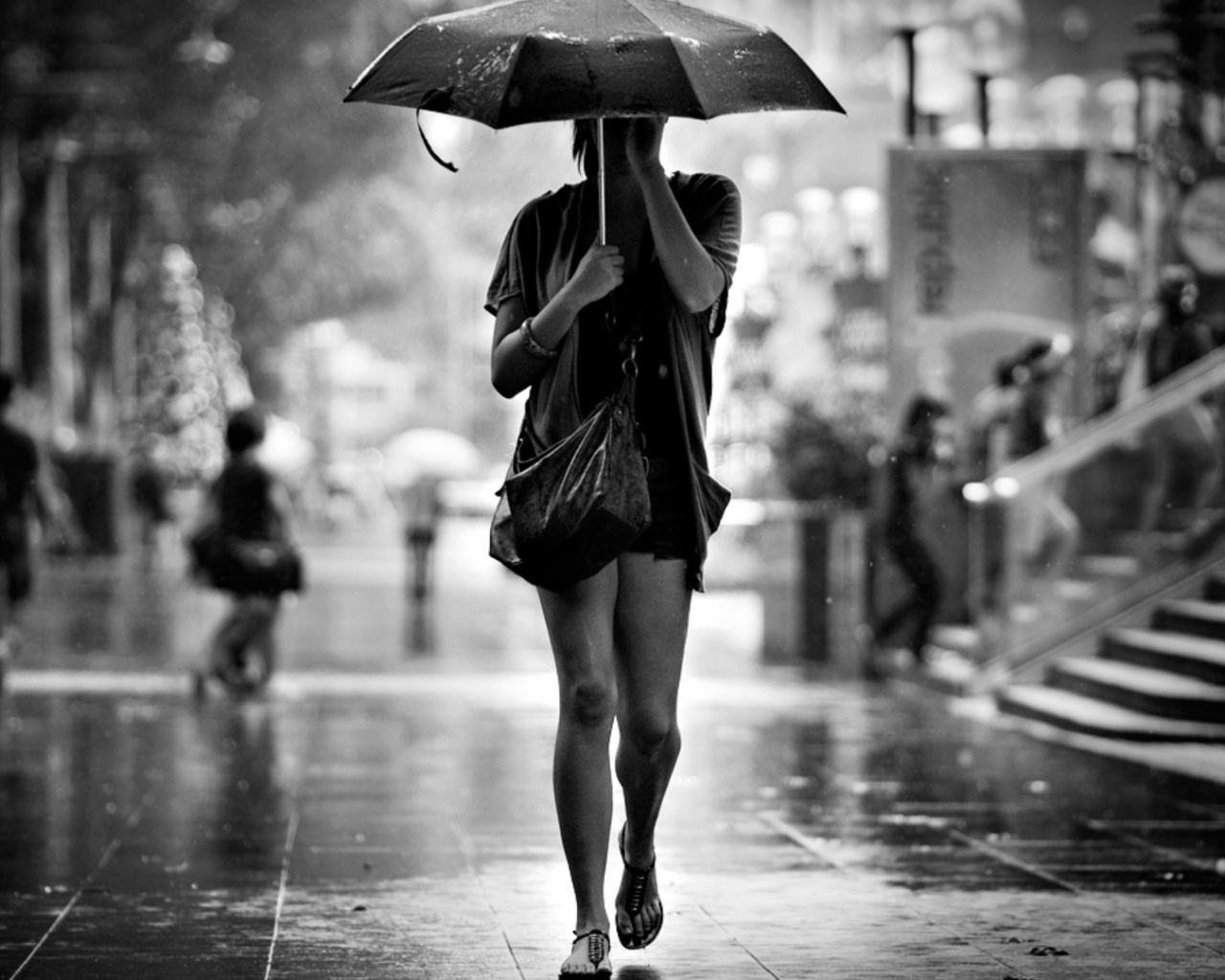 Man Woman Umbrella Woman-umbrella-rain-street