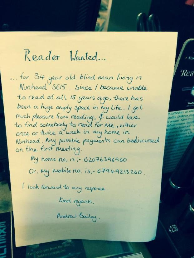 Blind Man Puts Advert in Local Bookshop Asking for People to Read to him
