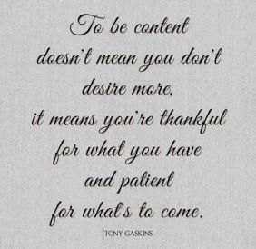 Tony Gaskins Quote About Feeling Thankful and Content