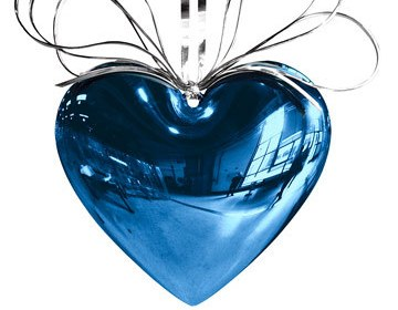 blue and silver heart balloon