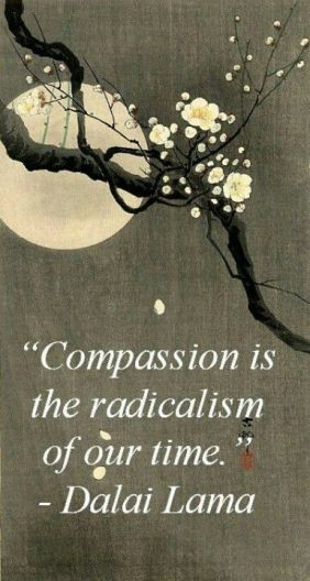 Dalai Lama Compassion Quote With A Tree Branch In Bloom In Front Of A Moon
