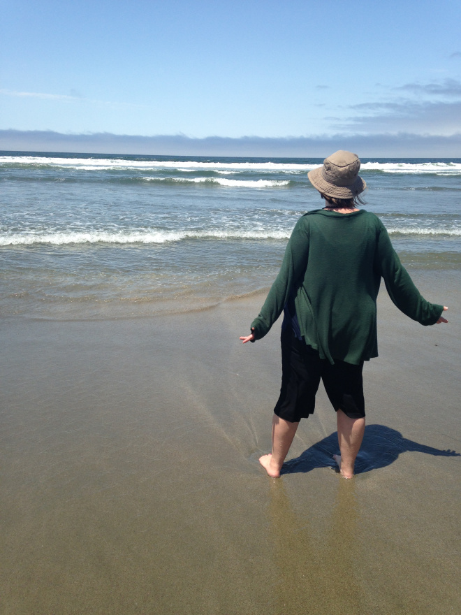 mother at the beach