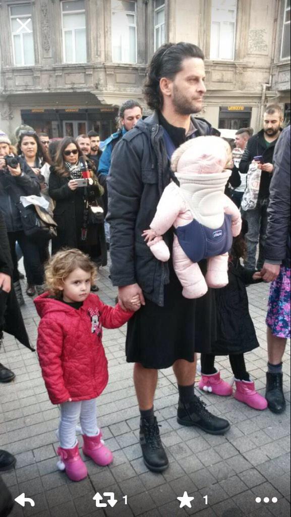Men support women's rights in Turkey... by wearing miniskirts