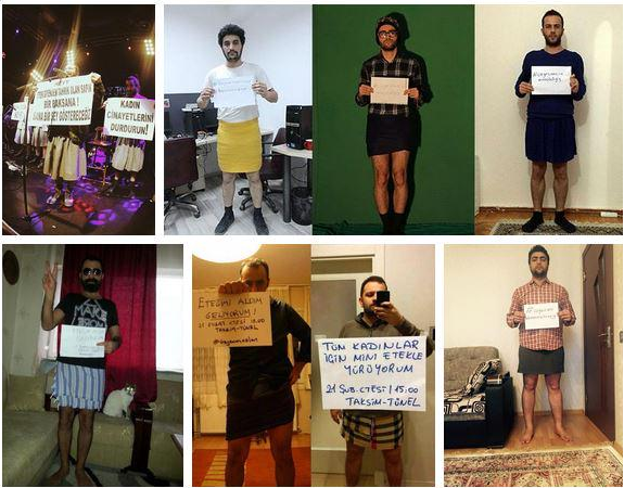 Men support women's rights in Turkey... by wearing miniskirts