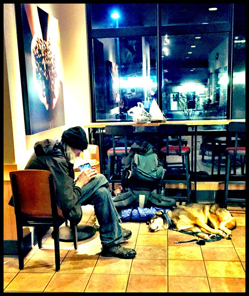 homeless man in starbucks