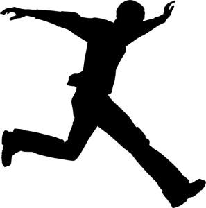 boy running fast silhouette