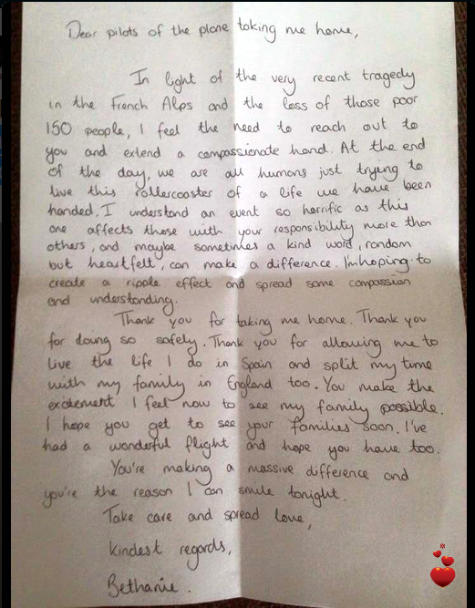 Bethanie's Letter to An Airline Pilot