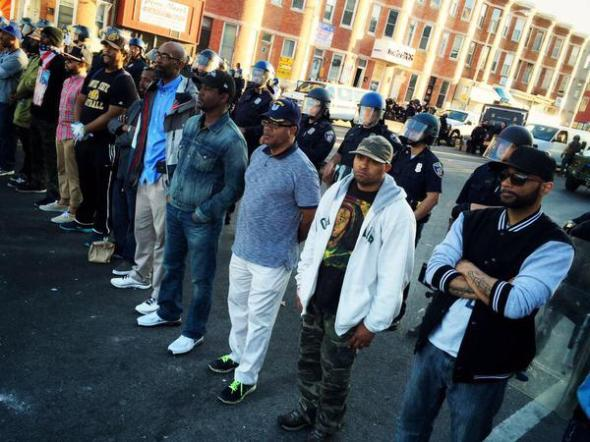 Citizens lining up to protect Baltimore Police.