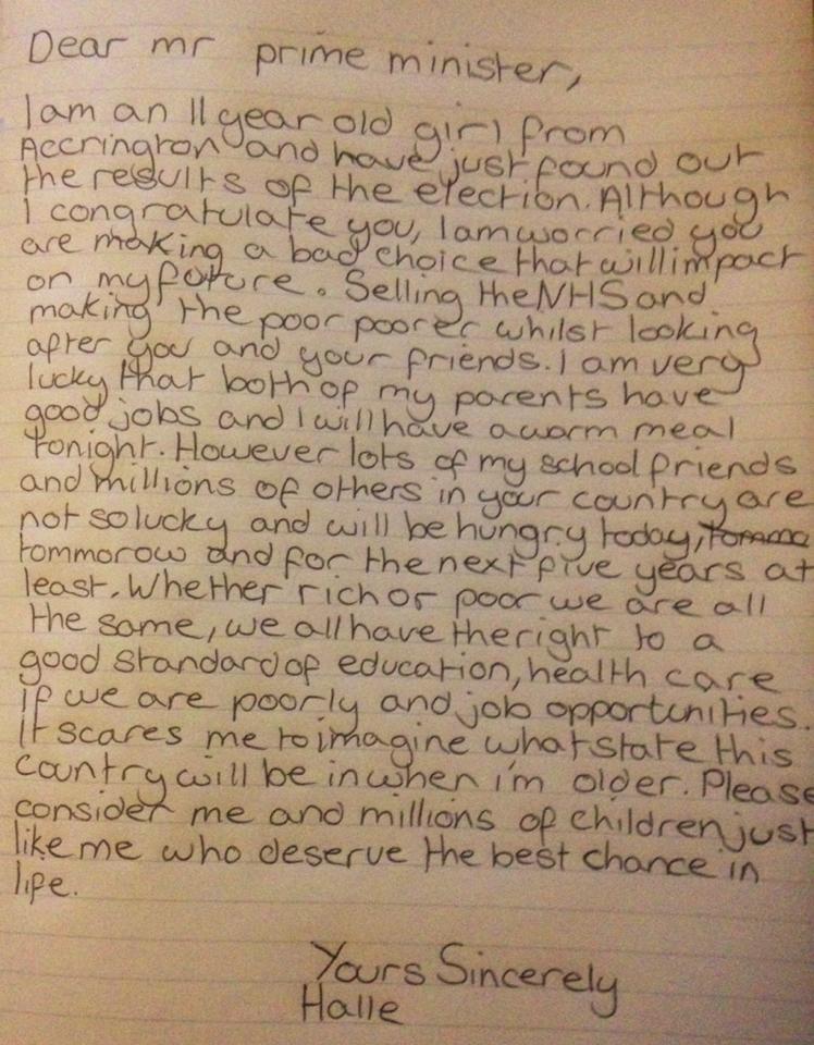 Halle Carnellini's letter to PM David Cameron