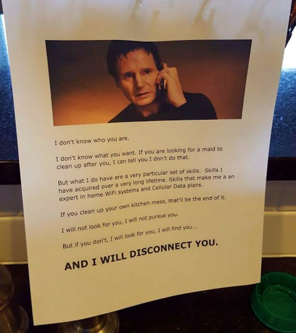 father threatens teenagers - liam neeson
