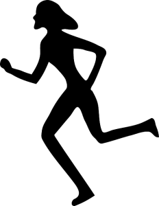 woman running city
