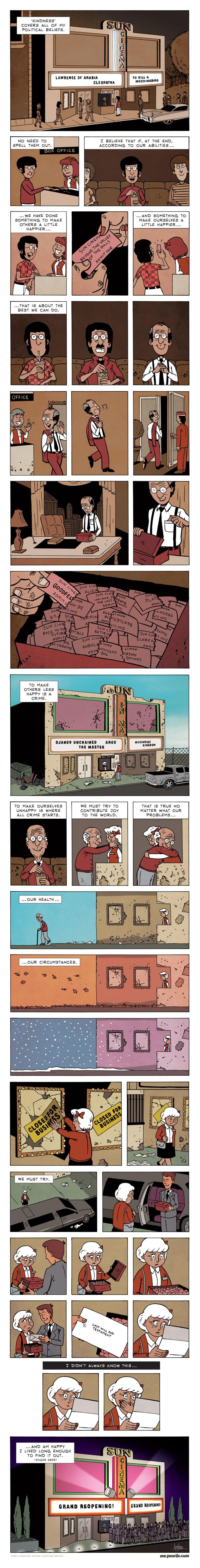 Roger Ebert on Kindness - Cartoon Quote