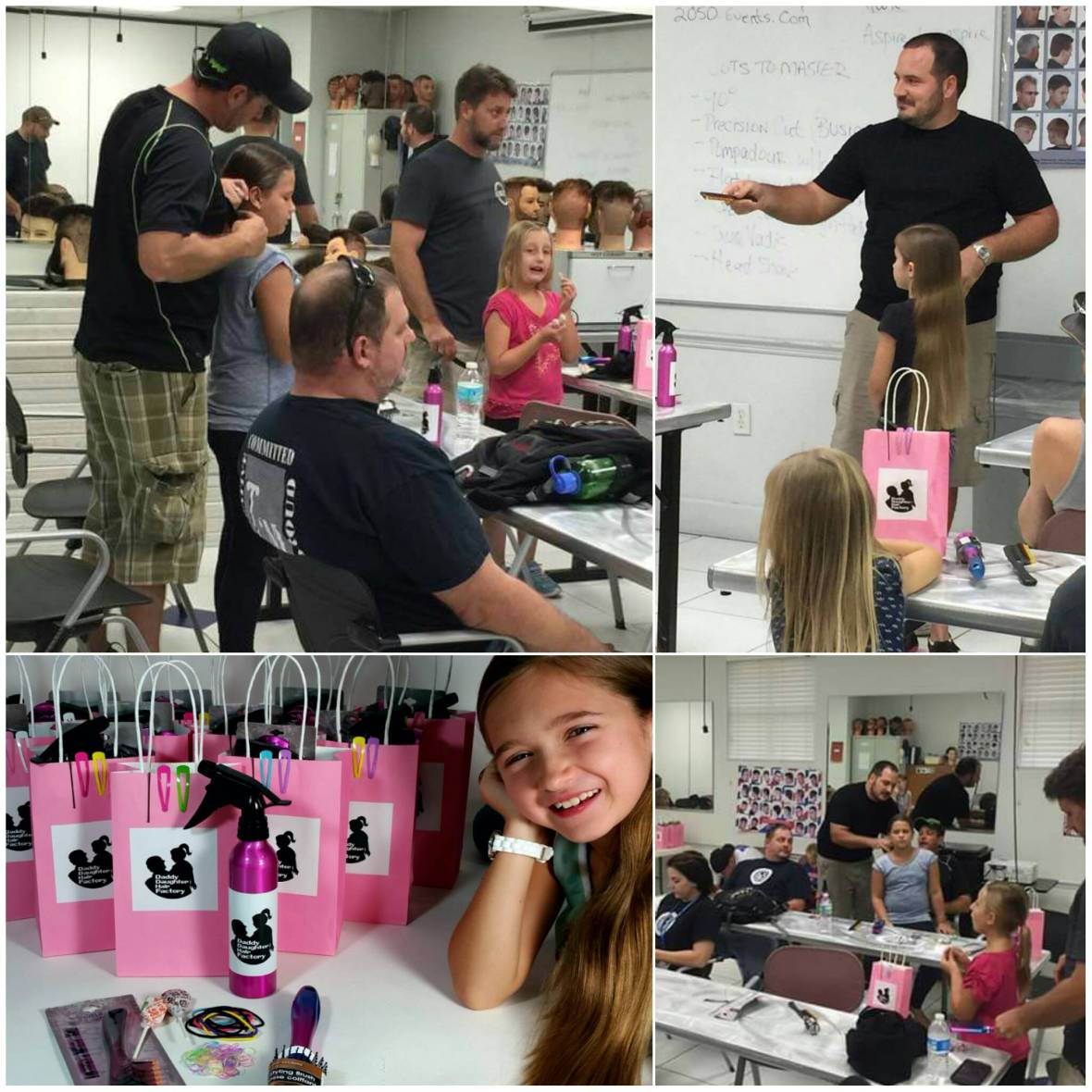 Dad and Daughter's Hair Class