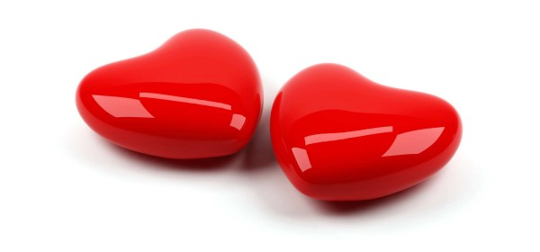 Two shiny red hearts