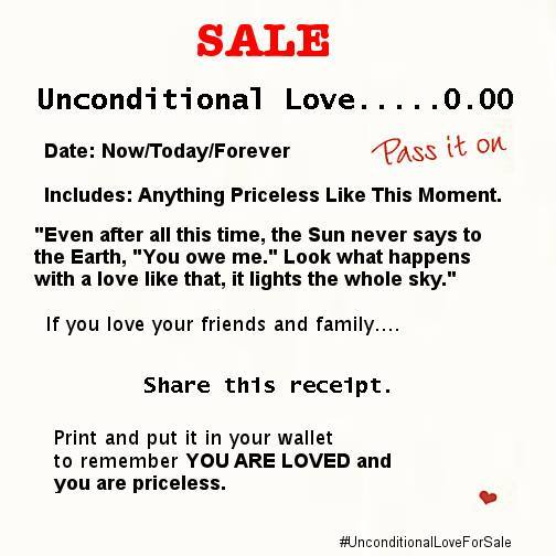 "unconditional love for $0"" receipt"