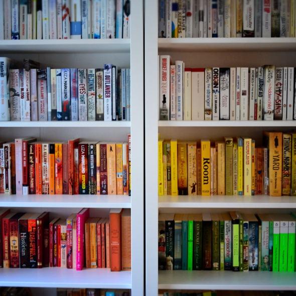 coloured bookcase