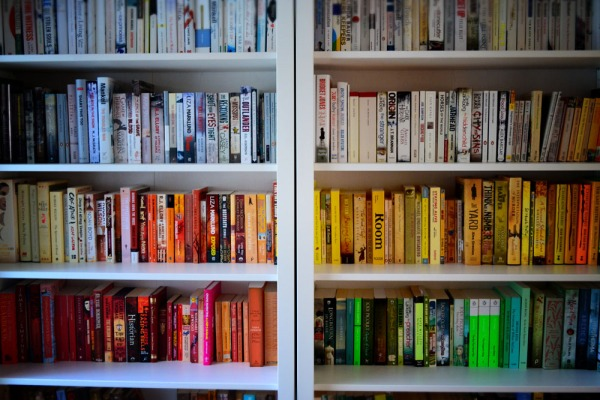 coloured bookcase
