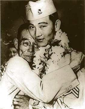 A Japanese-American man tearfully welcomes his son home from the WW2.
