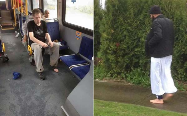 A man on the bus gave a homeless man the shoes off of his own feet.