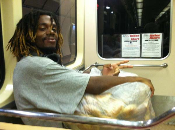 After work, this man takes uneaten bagels and hands them out to the needy on the street.