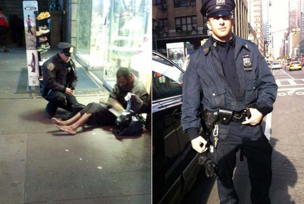 During harsh weather, this police officer bought boots for a shoeless homeless man