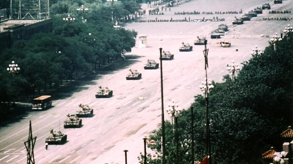 Tank Man is the nickname of an unidentified man who stood in front of a column of tanks on June 4, 1989, the morning after the Chinese military had suppressed the Tiananmen Square protests of 1989 by force.