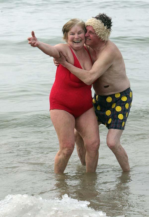 Older couple having fun.