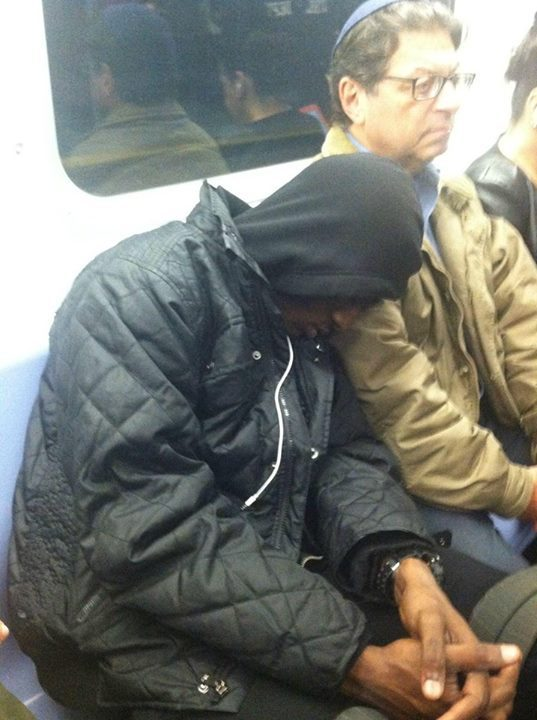 """Heading home on the Q train yesterday when this young African American guy nods off on the shoulder of a Jewish man. The man doesn't move a muscle, just lets him stay there. After a minute, I asked the man if he wanted me to wake the kid up, but he shook his head and responded, 'He must have had a long day, let him sleep. We've all been there, right?' He was still sleeping soundly when I got off the train 20 minutes later."