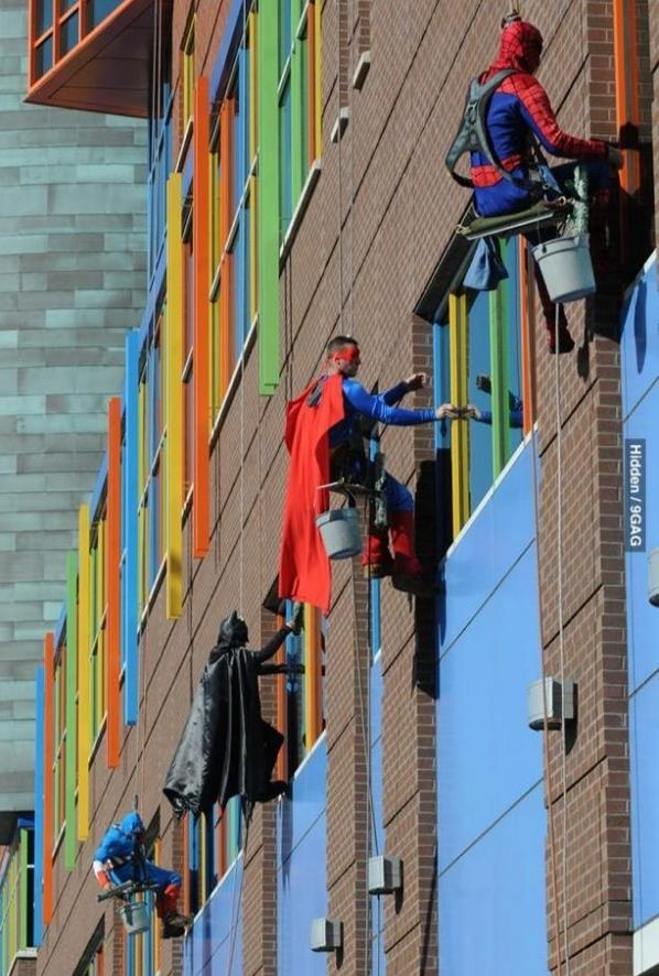 Superheros at children hospitals always makes us smile