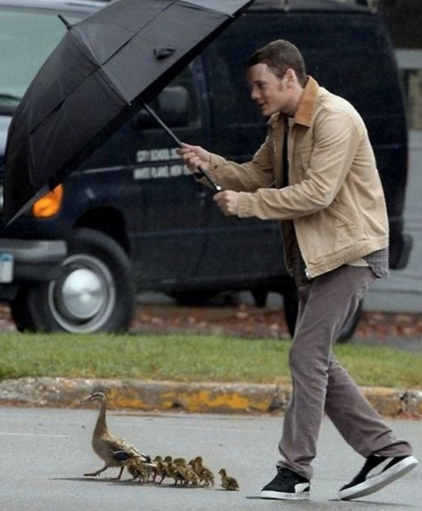 The late actor Anton Yelchin using an umbrella to shield a family of ducks