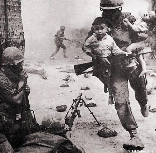 This soldier who more than likely risked his life to save two infants in an active warzone during the Vietnam War
