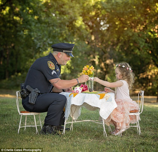 A toast to life: The heart-melting tea party was organized by Bexley's mother to mark the one-year anniversary of the toddler's very close call