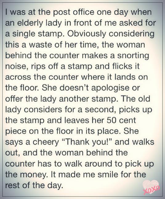 Rude Post-Office Assistant Versus Elderly Lady