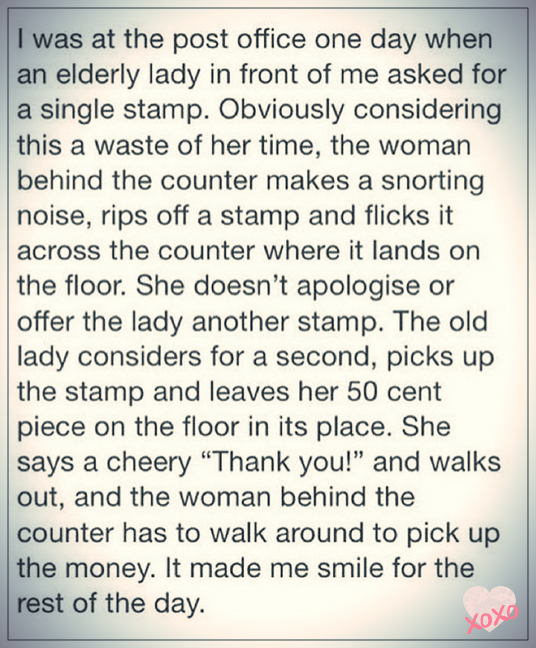 Rude Post-Office Assistant Versus Elderly Lady