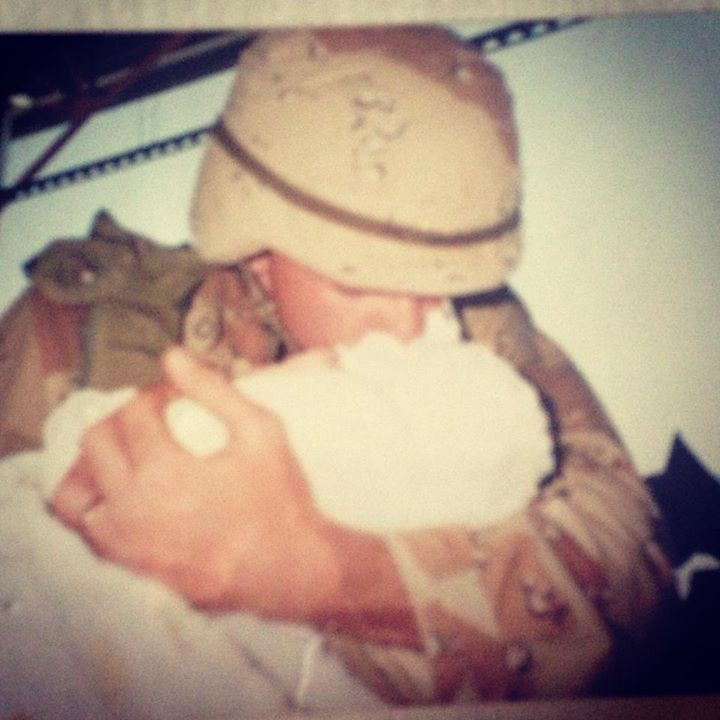 Felicia Nicole McCubbins This is the exact moment I met my daddy. It will be 23 years ago on March 15th, I was born on February 14th, 1991. Thank you to Harpers dad. For serving our country even though it meant a huge sacrifice!!!! She will never let you forget how being in your arms is most important to her!!!